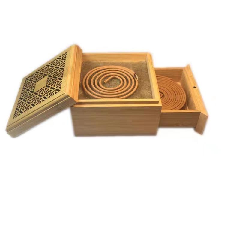 线香盘香木盒,香座,室内香薰携带方便,长方形正方形木制卧香炉,线香盒子,防火棉