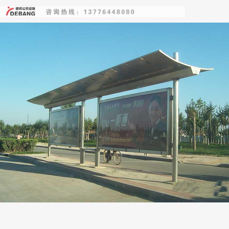 公交车站台候车亭, 不锈钢,仿古简约乡镇候车亭,灯箱广告牌