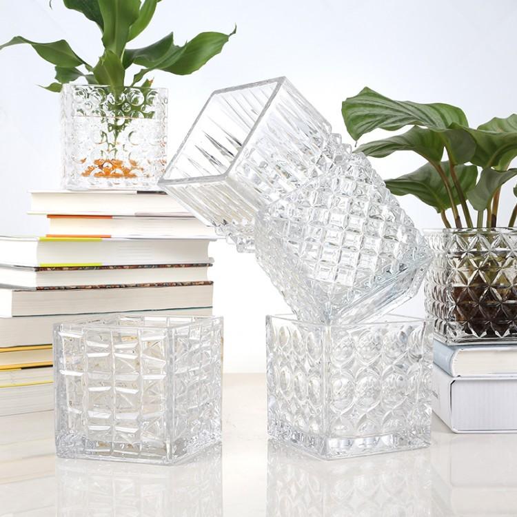 花纹方缸水培花瓶,专业玻璃瓶厂家直销 量大从优