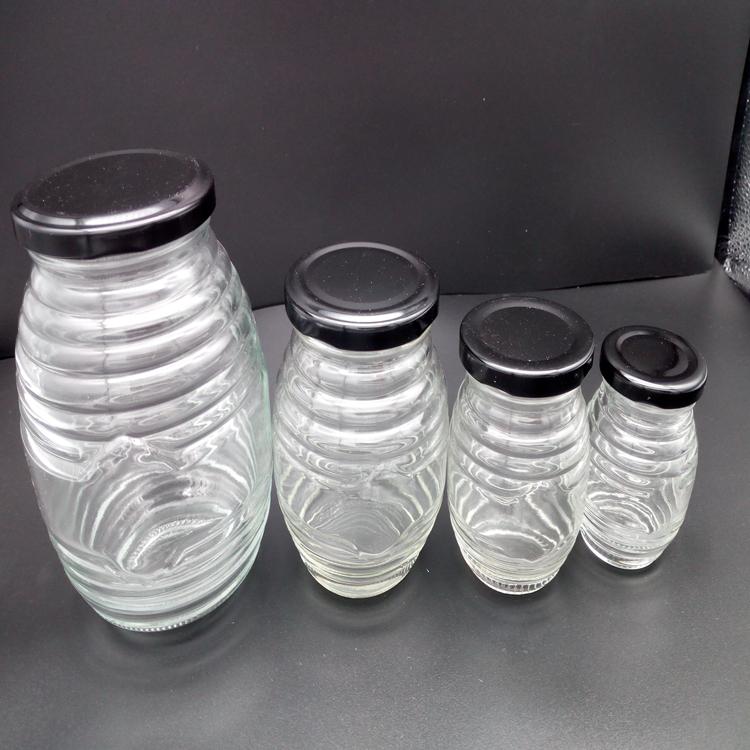 螺纹玻璃蜂蜜瓶 螺纹玻璃瓶价格