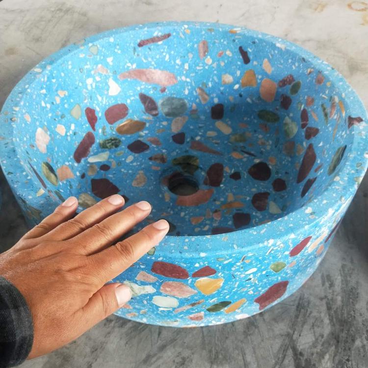 酒店水磨石洗手盆 蓝色水磨石洗手盆 欢迎订购