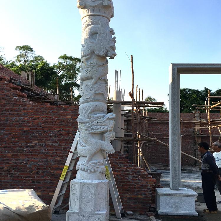 厂家生产祠堂龙柱石材雕刻 景区门口石材龙柱 欢迎来图定制