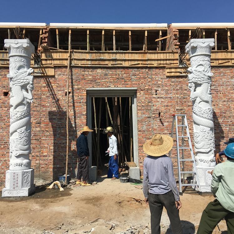 祠堂摆放石雕龙凤柱 厂家直销石雕龙柱 质优价廉